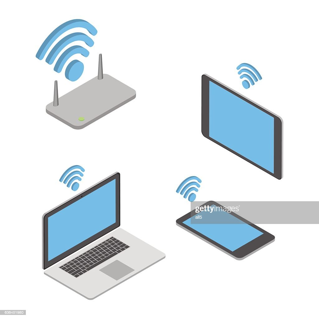 Wireless technologies. The concept of different wireless mobile devices. Isometric