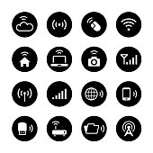 Wireless Technology Circle Icons Set