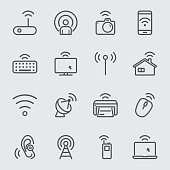 Wireless technology line icon