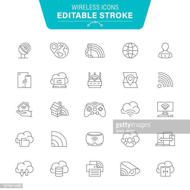 Wireless Technology Line Icons