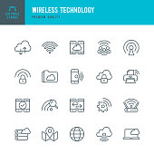 Wireless Technology - set of thin line vector icons
