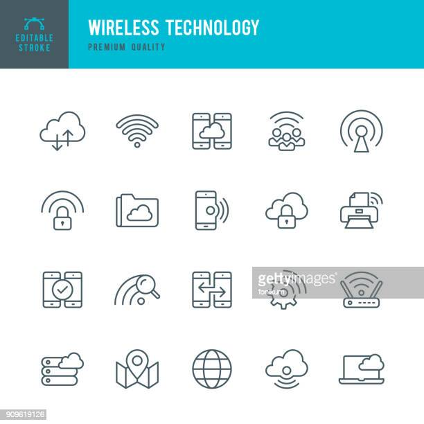wireless technology - set of thin line vector icons - telecommunications equipment stock illustrations
