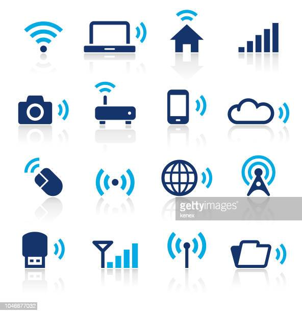 wireless technology two color icons set - podcasting stock illustrations, clip art, cartoons, & icons