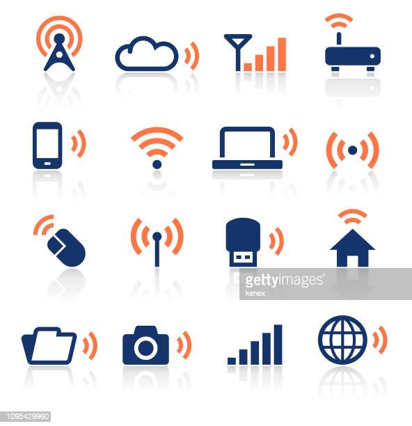 wireless technology two color icons set - telecommunications equipment stock illustrations