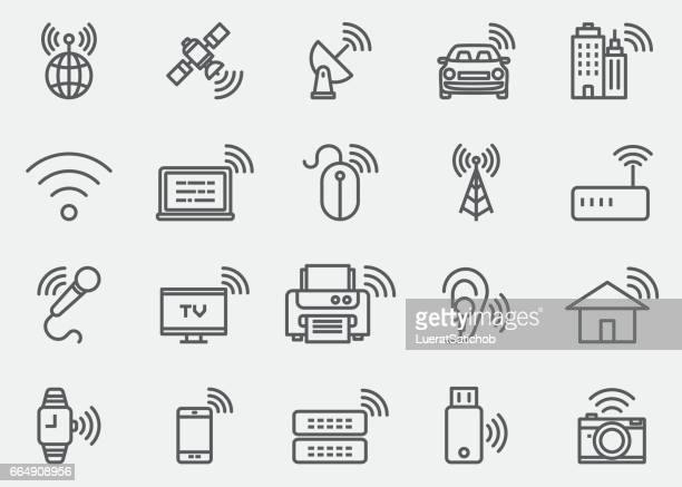 wireless technology wifi lines icons | eps 10 - television industry stock illustrations