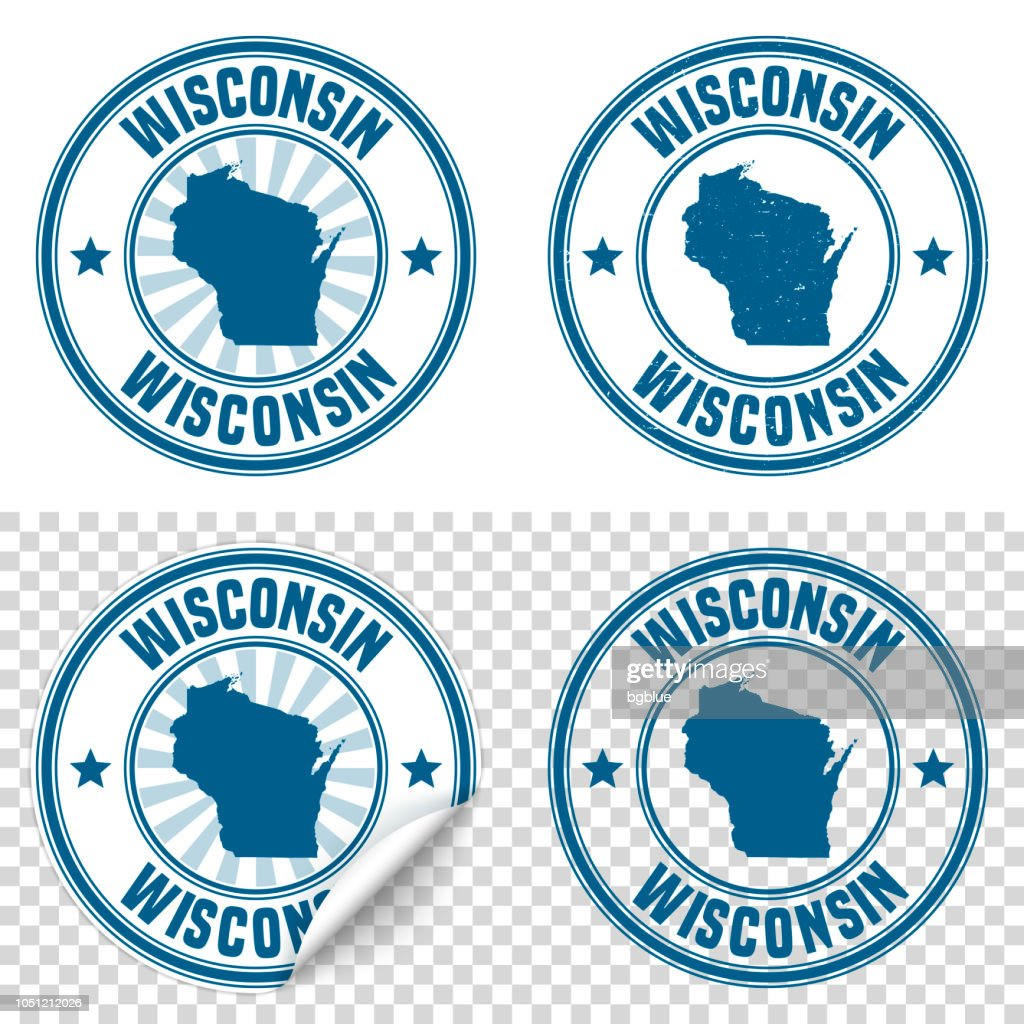 Wisconsin Blue Sticker And Stamp With Name Map Vector Art