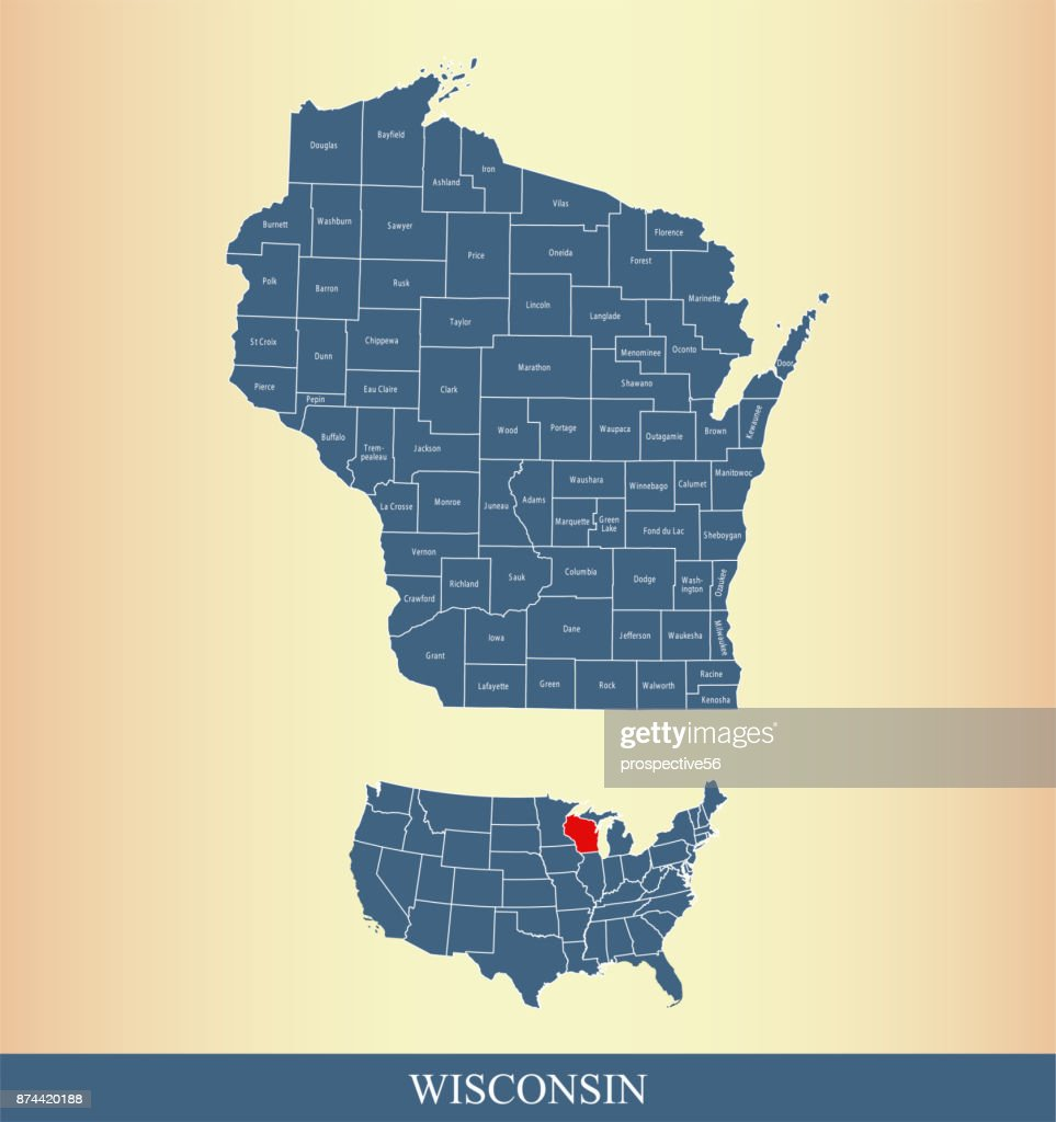 Wisconsin county map outline vector illustration background in a creative design