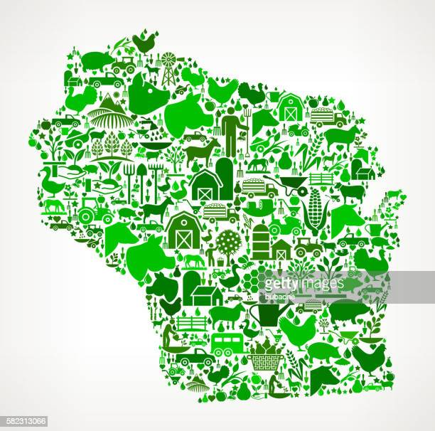 wisconsin farming and agriculture green icon pattern - zea stock illustrations, clip art, cartoons, & icons