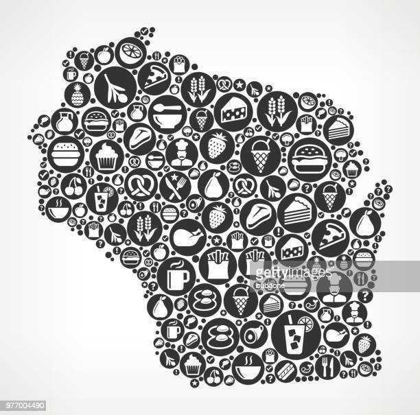 Wisconsin Food Black and White Icon Background