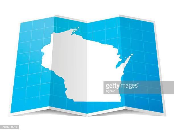 Wisconsin Map folded, isolated on white Background