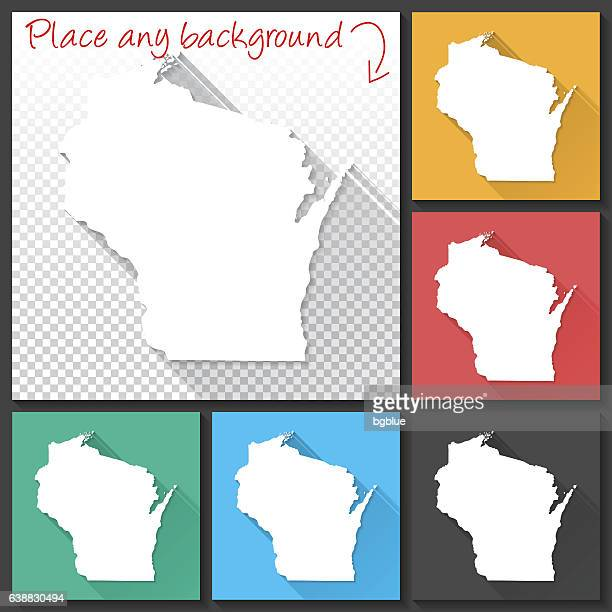 Wisconsin Map for design, Long Shadow, Flat Design