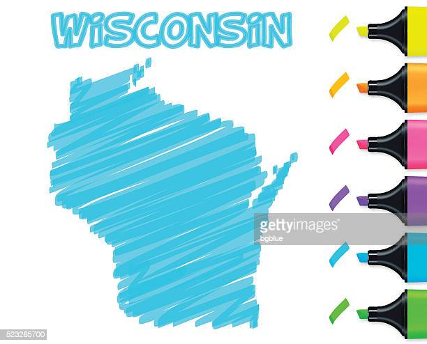 Wisconsin map hand drawn on white background, blue highlighter