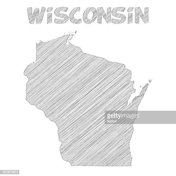 Wisconsin map hand drawn on white background