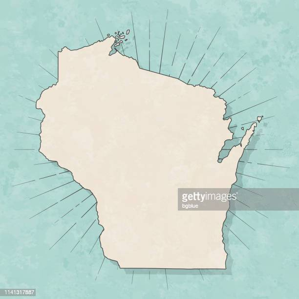 wisconsin map in retro vintage style - old textured paper - wisconsin stock illustrations