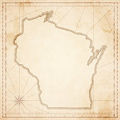 Wisconsin map in retro vintage style - old textured paper