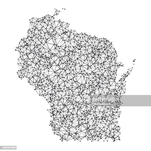 Wisconsin Map Network Black And White