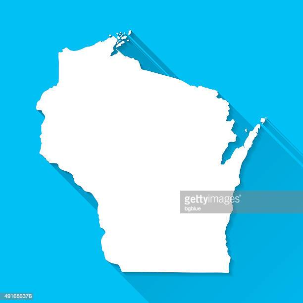 Wisconsin Map on Blue Background, Long Shadow, Flat Design