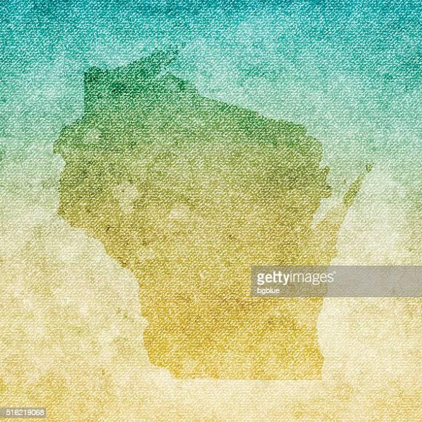 Wisconsin Map on grunge Canvas Background