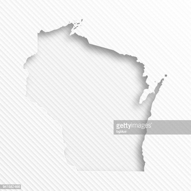 Wisconsin map with paper cut on abstract white background