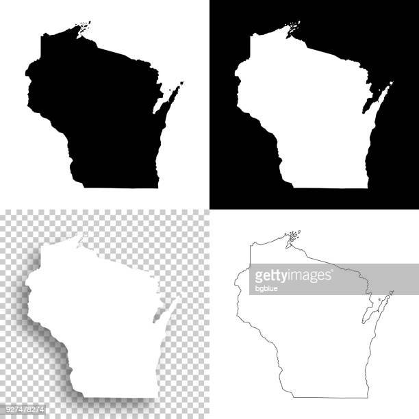 wisconsin maps for design - blank, white and black backgrounds - wisconsin stock illustrations