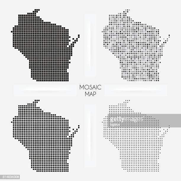 Wisconsin maps - Mosaic squarred and dotted