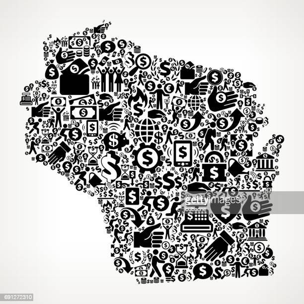 Wisconsin Money and Finance Black and White Icon Background