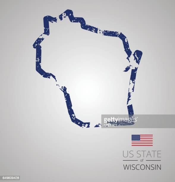 Wisconsin State Grunge Outline
