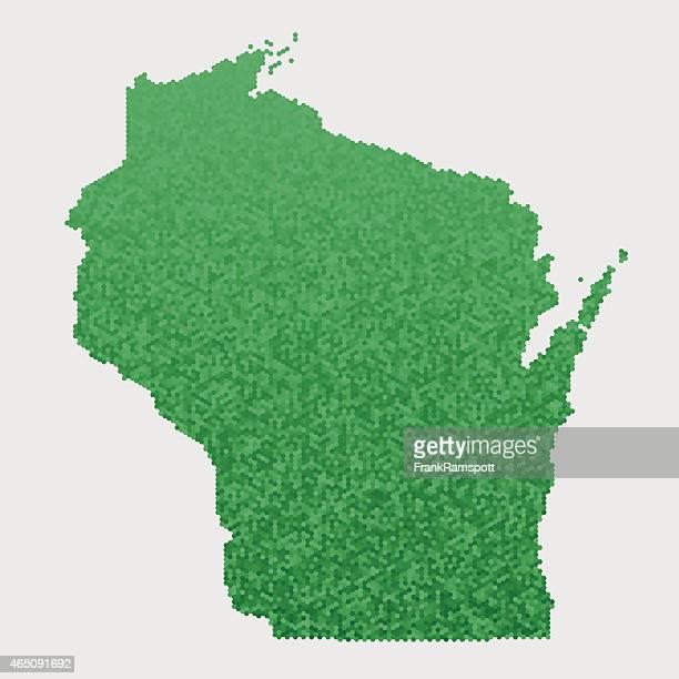 Wisconsin State Karte Grün Sechseck Muster