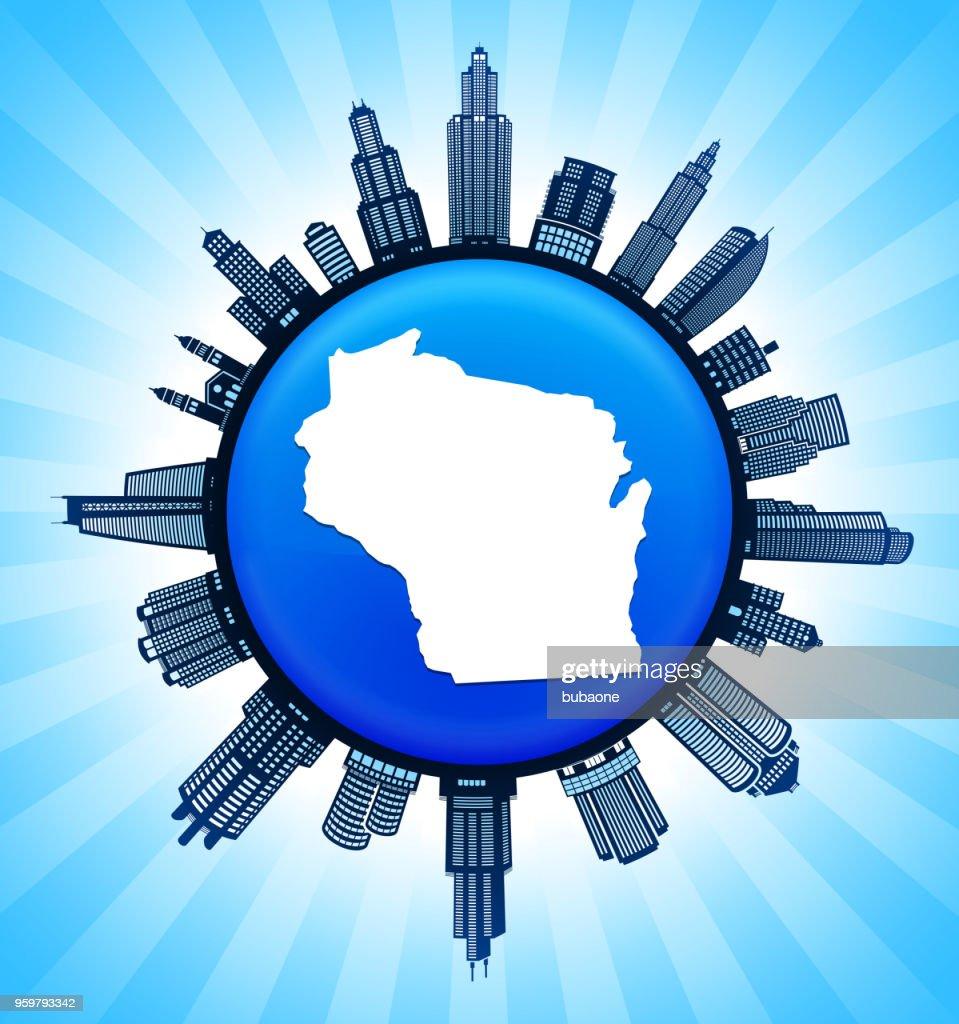 Wisconsin State Karte auf demokratische Blue City Skyline Hintergrund : Stock-Illustration