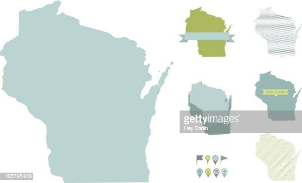 wisconsin state maps - wisconsin stock illustrations