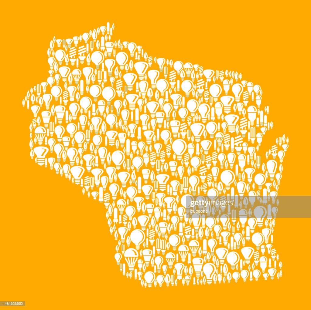Wisconsin State on Vector Lightbulb Pattern Background : stock illustration