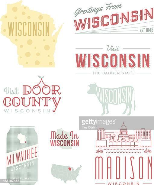 wisconsin typography - wisconsin stock illustrations