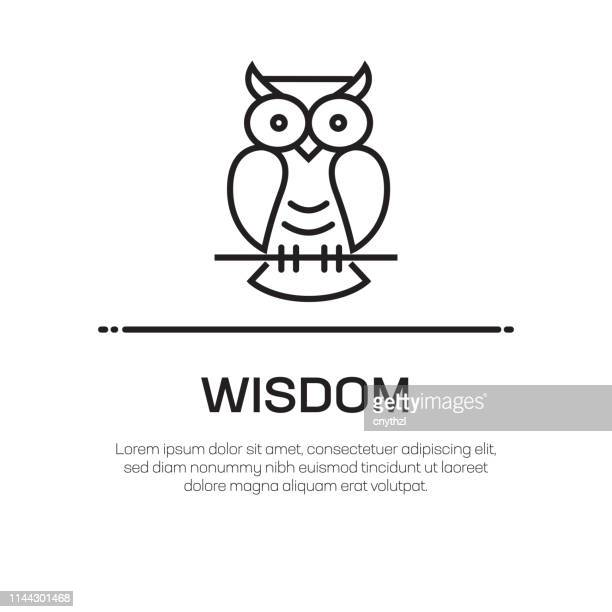illustrations, cliparts, dessins animés et icônes de icône de ligne de vecteur de sagesse-icône de ligne mince simple, élément de conception de qualité supérieure - chouette