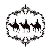 wise man camel holy family christmas design