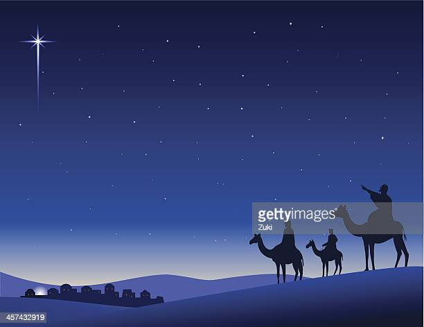 wise men seeking - nativity scene stock illustrations