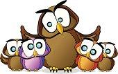 Wise Owl family Cartoon