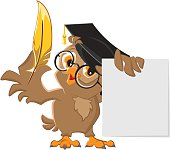 Wise owl holding golden pen and sheet of paper