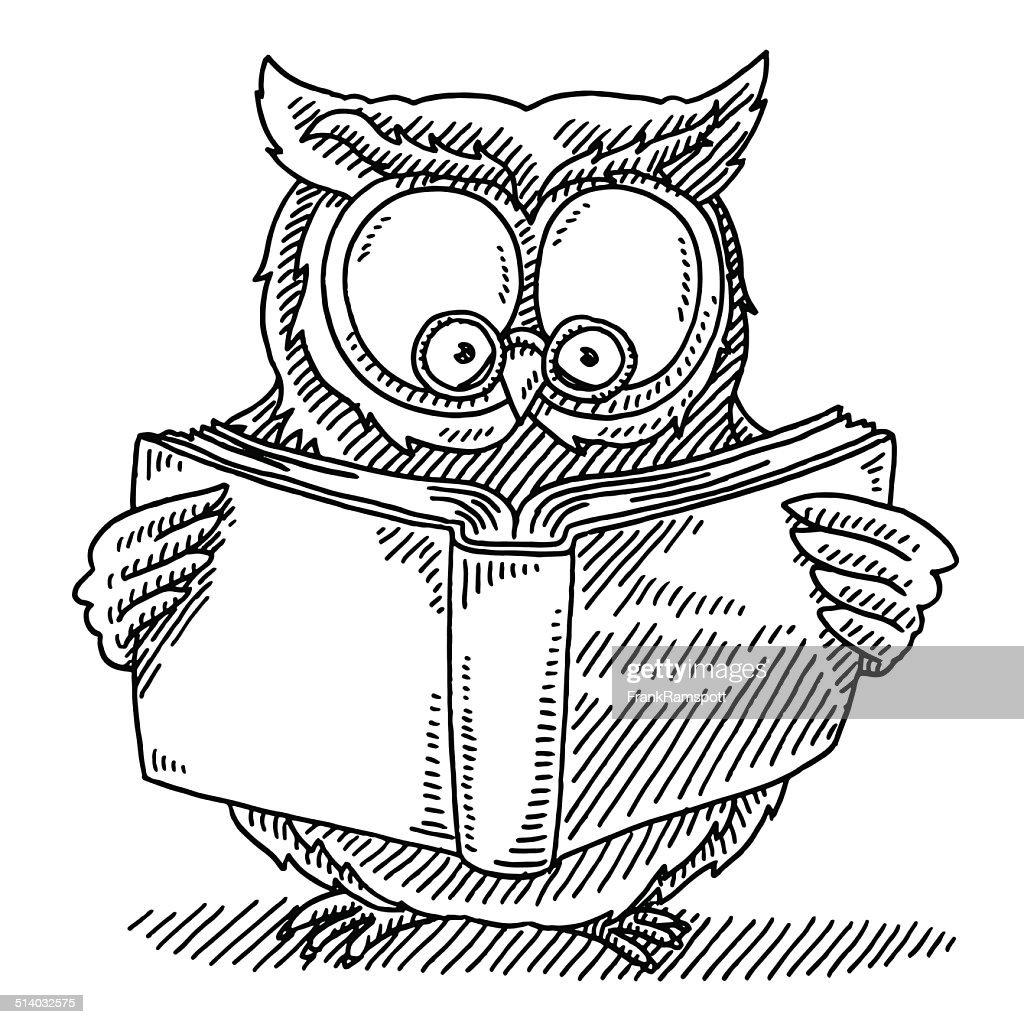 Livre De Lecture De Hibou Sage Dessin Illustration Getty
