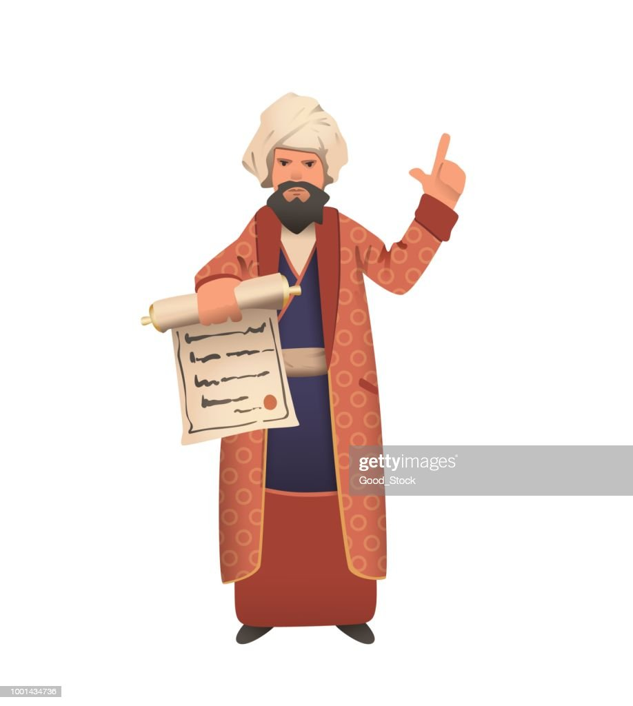 Wise vizier in white turban showing scroll and giving speech. Flat vector illustration. Isolated on white background.