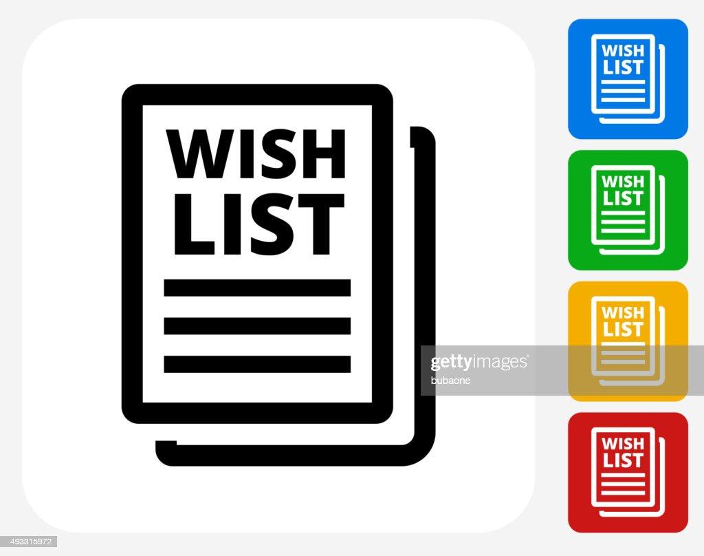 Wish List Icon Flat Graphic Design