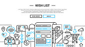 Wish List - line design website banner temlate