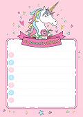Wishlist card with unicorn