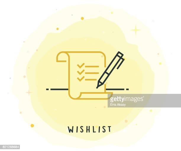 Wishlist Icon with Watercolor Patch