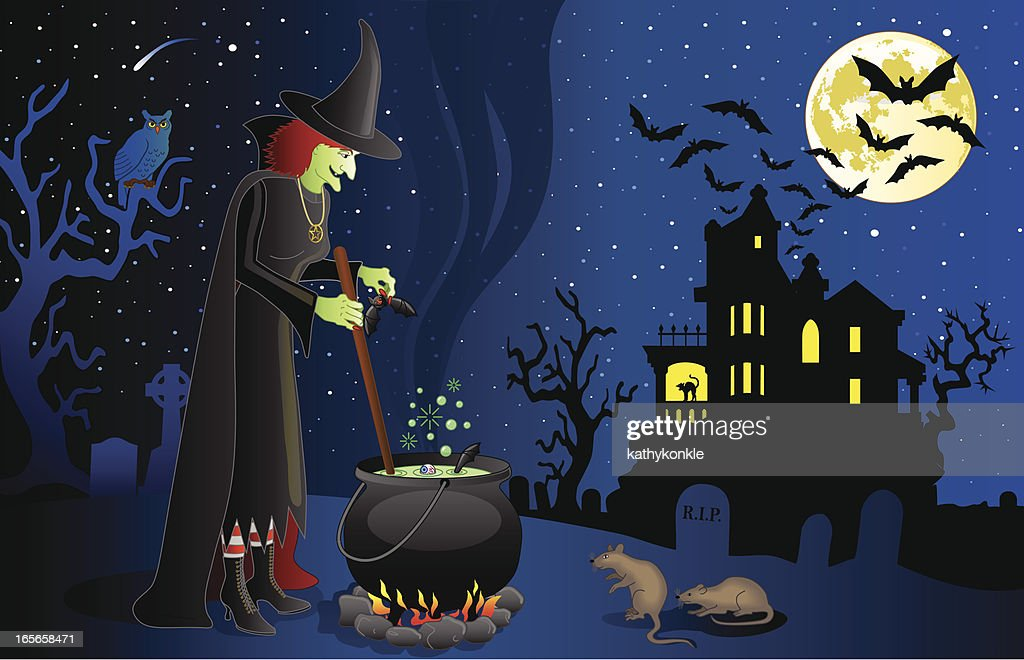 witch and haunted house