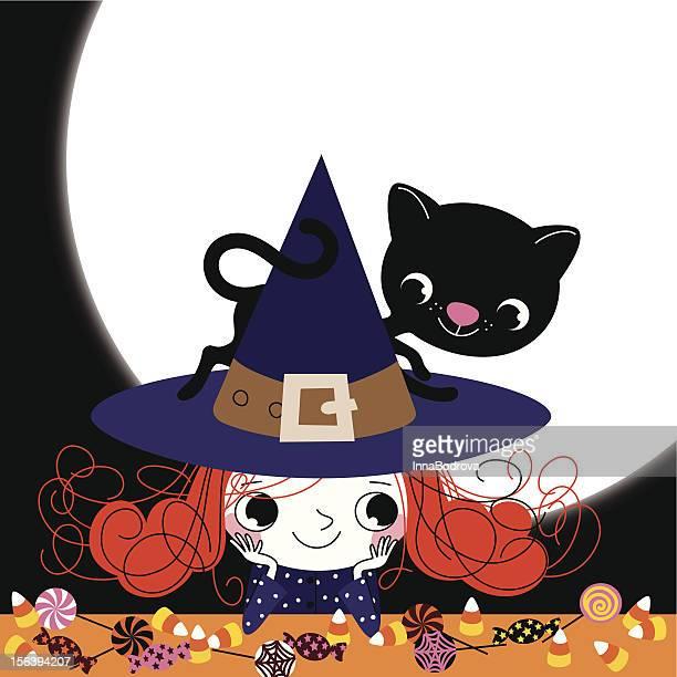 ilustraciones, imágenes clip art, dibujos animados e iconos de stock de bruja y mascota en halloweeh la noche. - bruja