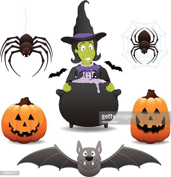 witch bat spider halloween pumpkin jack o' lantern vector illustration - black widow spider stock illustrations, clip art, cartoons, & icons
