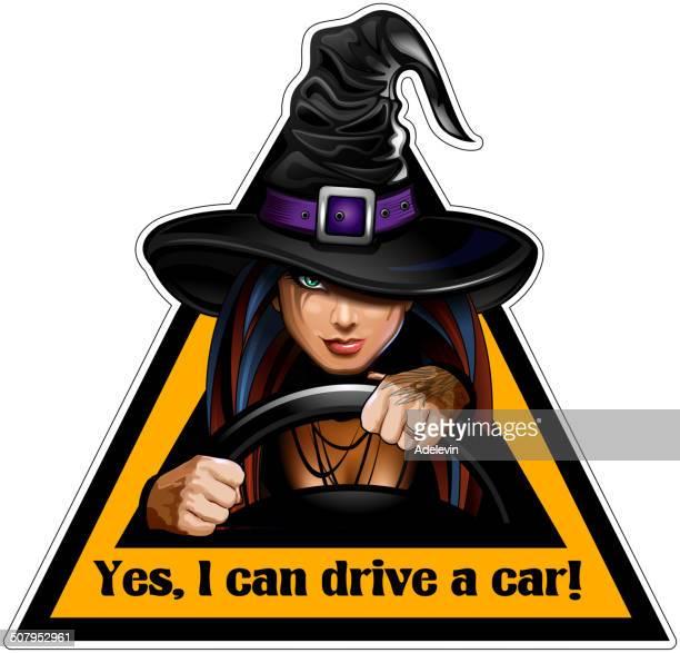 hexe hinter dem lenkrad eines autos-sticker - wizard stock-grafiken, -clipart, -cartoons und -symbole
