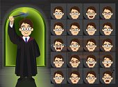 Witch Boy Glasses Cartoon Emotion Faces Vector Illustration