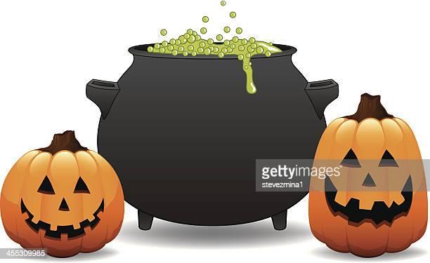 Witch Cauldron Halloween Pumpkin Jack  O' Lantern Vector Illustration