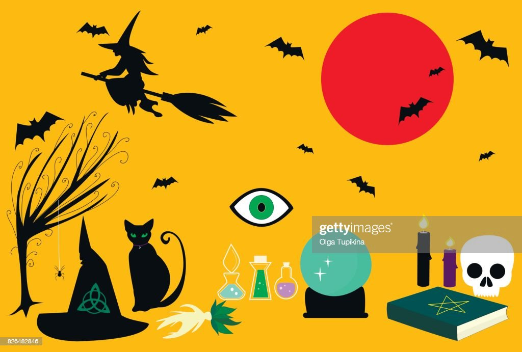 Witch craft  kit consisting  spellbook, mandrake, magic ball, pointed hat, black cat, broom, sorceress silhouette, bats, spiders, candles.